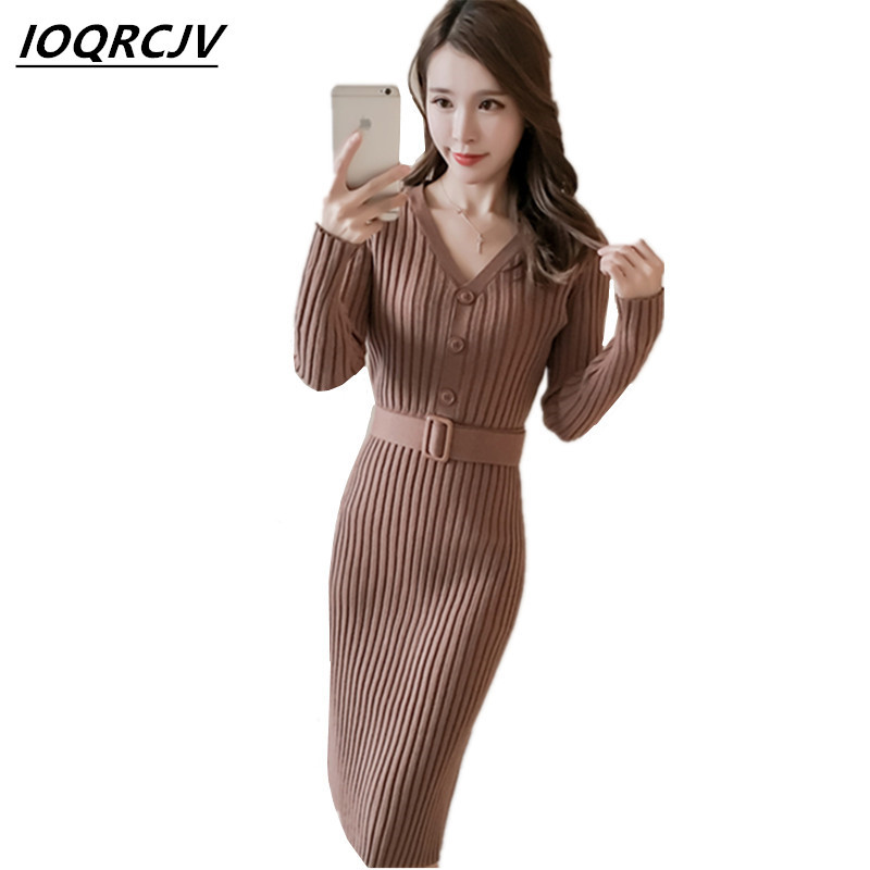 2018 Autumn Women Sweater Dress Medium-length Stripe Pullover Long Sleeve Casual Slim Sexy V-collar Ladies Knitted Sweaters F78