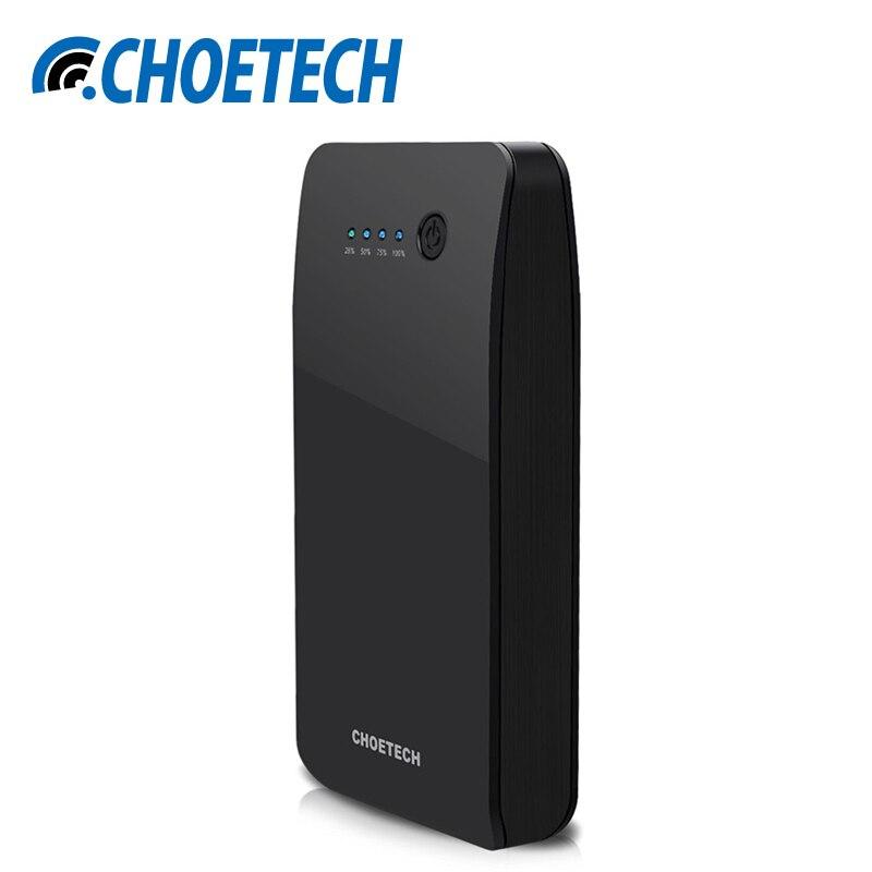 imágenes para CHOETECH 20000 mAh Powerbank Banco de la Energía de Carga Rápida 3.0 Dual USB de Salida de Entrada para Xiaomi QC 3.0 Rápido Portátil Batería cargador
