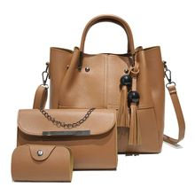 3pcs Women Lady Leather Handbag Tassel Shoulder Bags Tote Purse Messenger Satchel Top Handle Bag Set