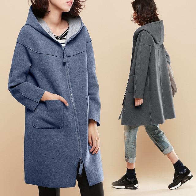 Весна Новый Средний Стиль С Длинным рукавом С Капюшоном Тонкий Случайные Женщины Моды Свободные Пальто И Пиджаки Топы