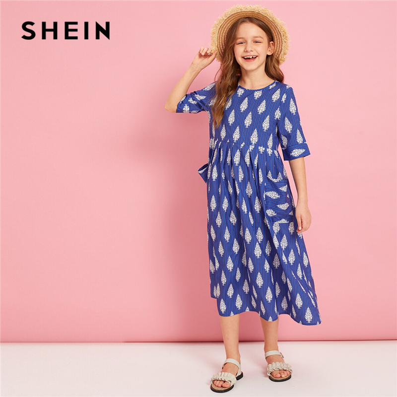 SHEIN Kiddie Blue Pocket Front Plants Print And Striped Boho Tunic Dress 2019 Summer Holiday Half Sleeve High Waist Long DressesSHEIN Kiddie Blue Pocket Front Plants Print And Striped Boho Tunic Dress 2019 Summer Holiday Half Sleeve High Waist Long Dresses