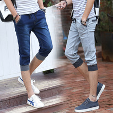 2017 spring men's new fashion men's casual denim shorts,High quality men's slim solid color jeans