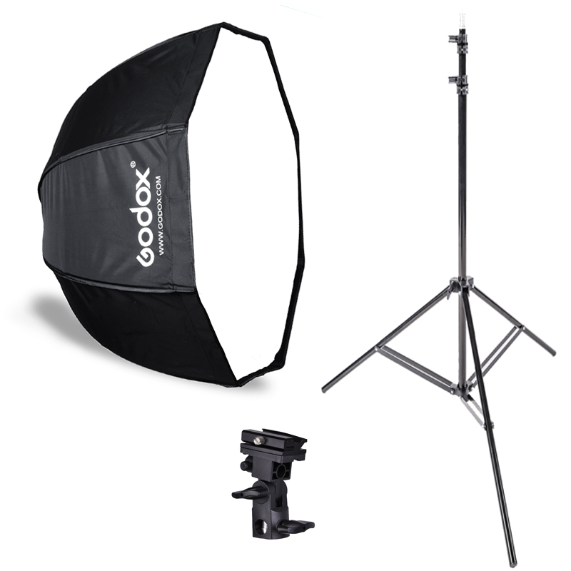 Photo Studio Godox 80cm octagon umbrella softbox Light stand umbrella Hot shoe bracket kit for Flash