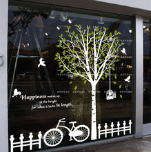 2015 New arrival Big tree Glass stickers wall stickers tree and bird wall decoration wall decal