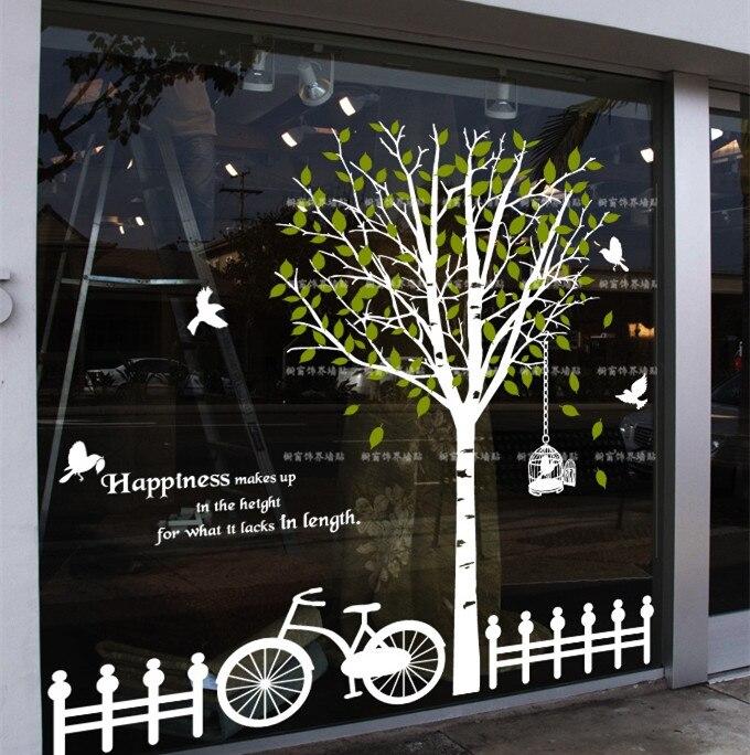 2015 nouveauté grand arbre autocollants en verre stickers muraux arbre et oiseau décoration murale sticker mural