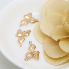 6PCS 13x23MM 24K Champagne Gold Color Plated Brass Flower Charms Pendants High Quality Diy Jewelry Accessories