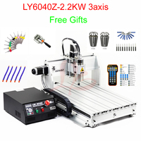 Mini CNC milling machine LY6040Z 2.2KW 3axis CNC lathe engraving machine with handle remote control