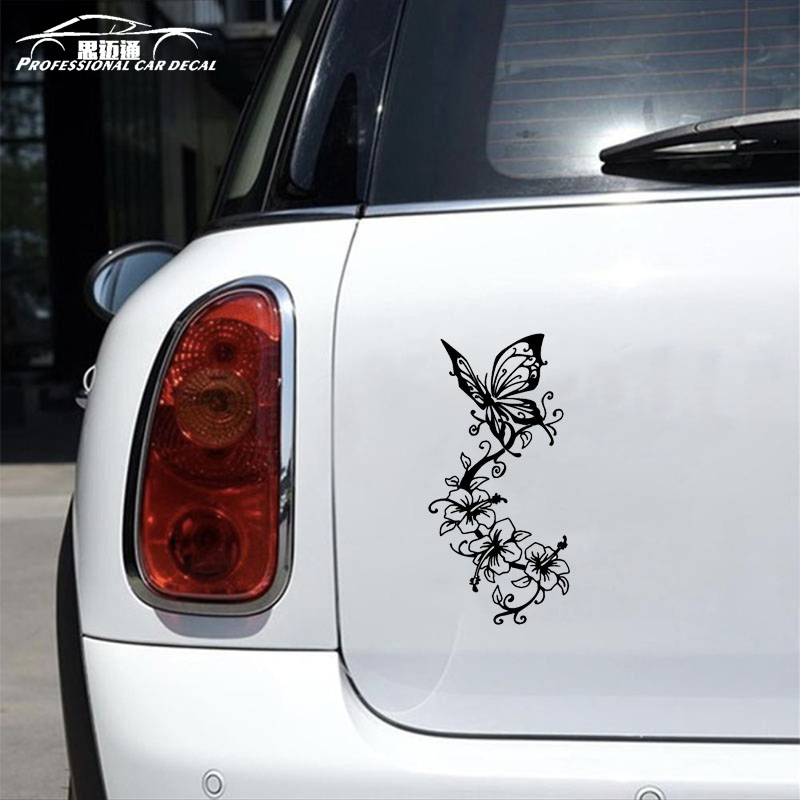 Car styling Vinyl Butterfly flowers Car Sticker Art Animal Car Decal Creative Fansy auto ...
