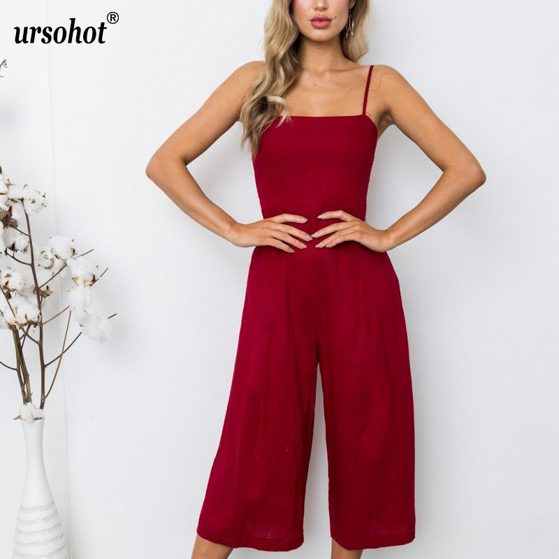 Ursohot Sexy Spaghetti Strap Backless Jumpsuit Strapless Off Shoulder Rompers Wide Leg Long Bodysuit Summer Overalls For Women