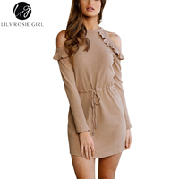 Lily Rosie Girl Ruffles Cold Shoulder Sexy Knitted Mini Sweater Dress Women Autumn Winter 2017 Khaki