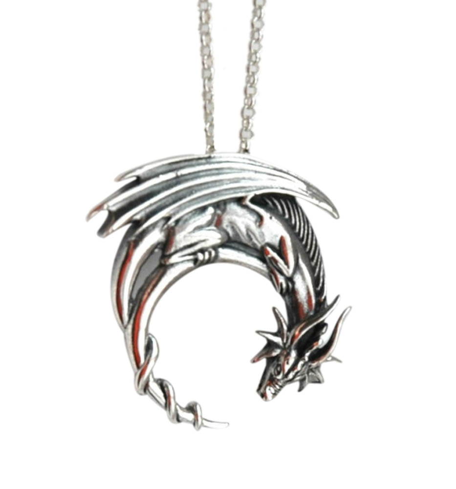 alloy dragon necklace preorder winged dragon on moon