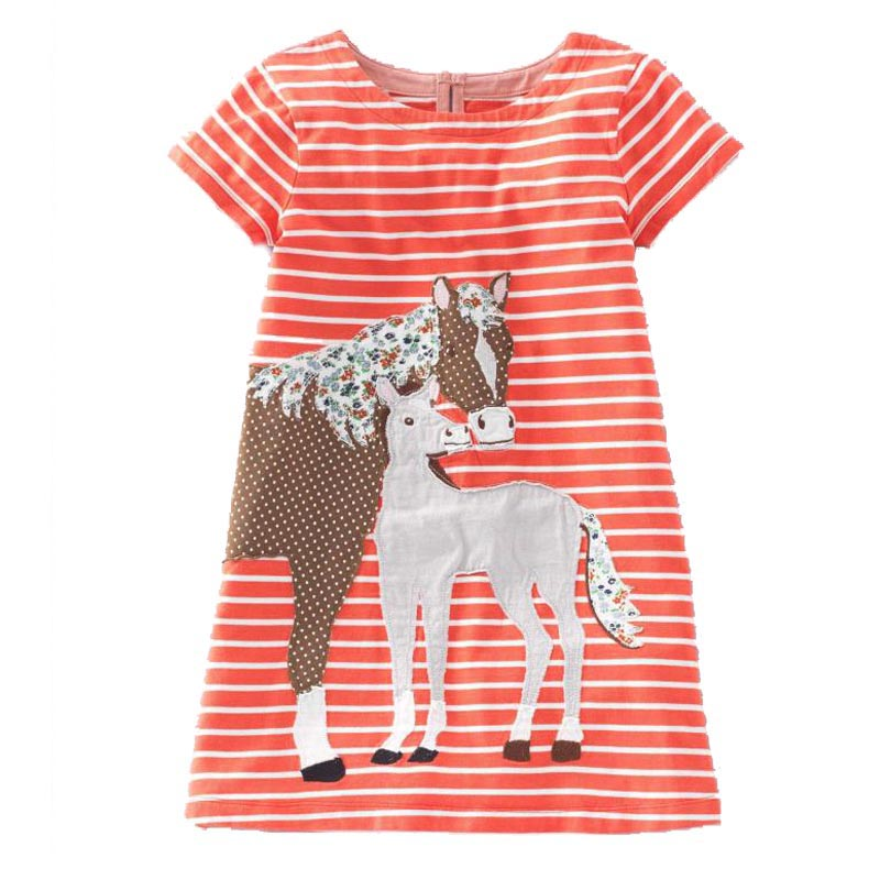 Girls Cotton Dress Striped Animal 2017 Brand Summer Princess Dress Cartoon Robe Fille Tunic Children Costume for Kids Dresses