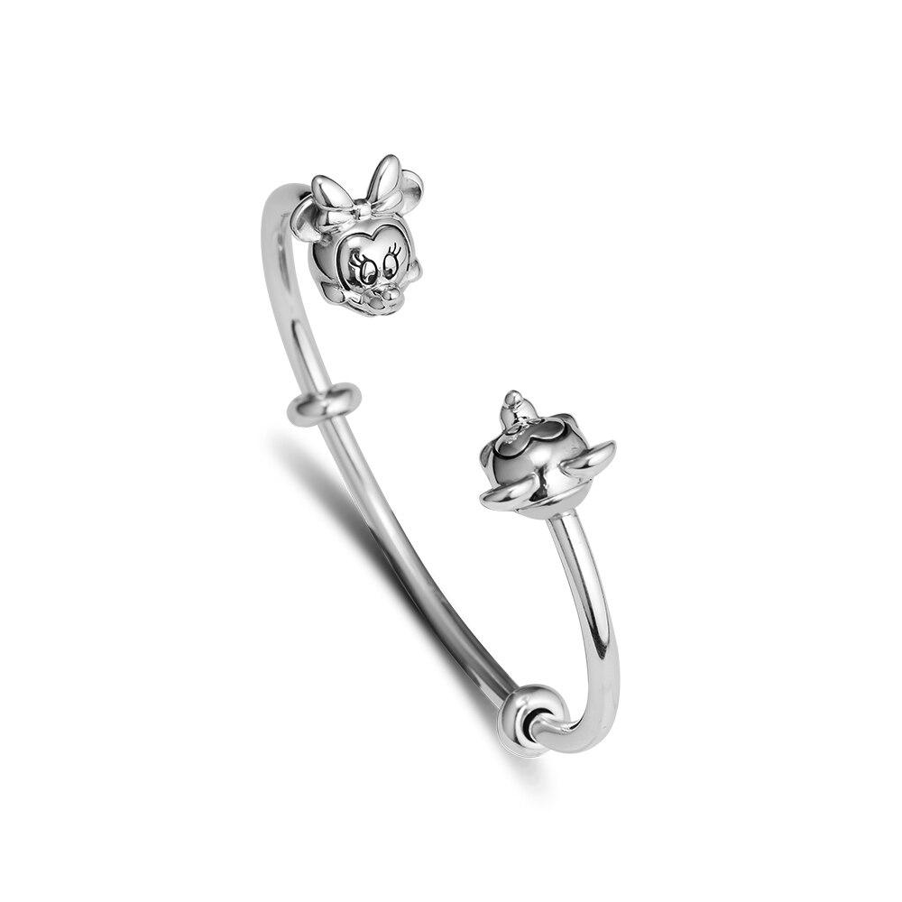 100% 925 bijoux en argent Sterling Micki et Minni ouvert bracelet souris convient pour bricolage femmes classique bracelet bijoux