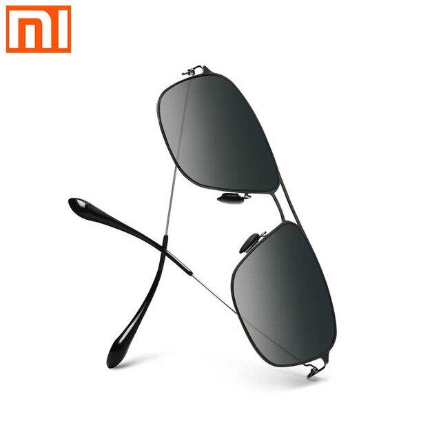 Xiaomi Mijia คลาสสิกกล่องแว่นตา Sun Pro กล่อง gradient สีเทาสแตนเลสสตีลกรอบเลนส์ Anti UV น้ำมัน