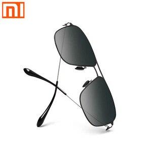 Image 1 - Xiaomi Mijia classic box Sun Glasses Pro box gradient gray classic square stainless steel frame polarized lens anti UV anti oil