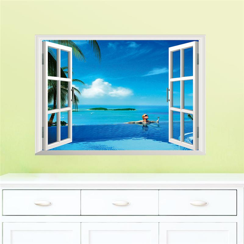 Fantastic window space landscape castle sea wall stickers for Wall stickers for living room malaysia