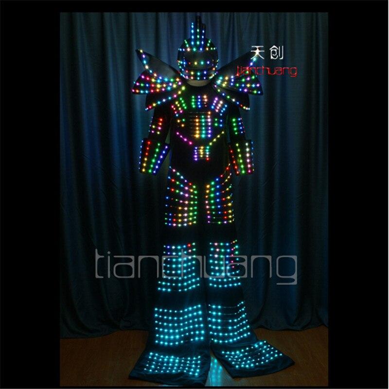 TC 130 RGB робот ходулях Танцы СВЕТОДИОДНЫЙ Костюмы полный цвет яркая одежда для мужчин носит Бальные программируемый dj костюм производительно