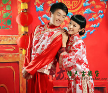 Huan Tian Xi Di Free Shipping Chinese Style Bride and Groom Wedding Dress Sets or Lovers' Photography Costume Clothing Set