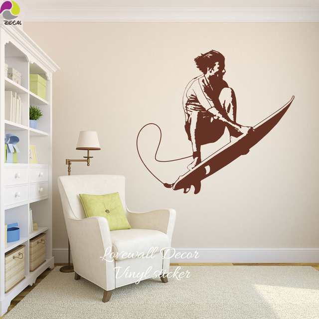 Surf Wall Sticker Baby Nursery Kids Room Summer Beach Man Surfing Sport  Wall Decal Living Room