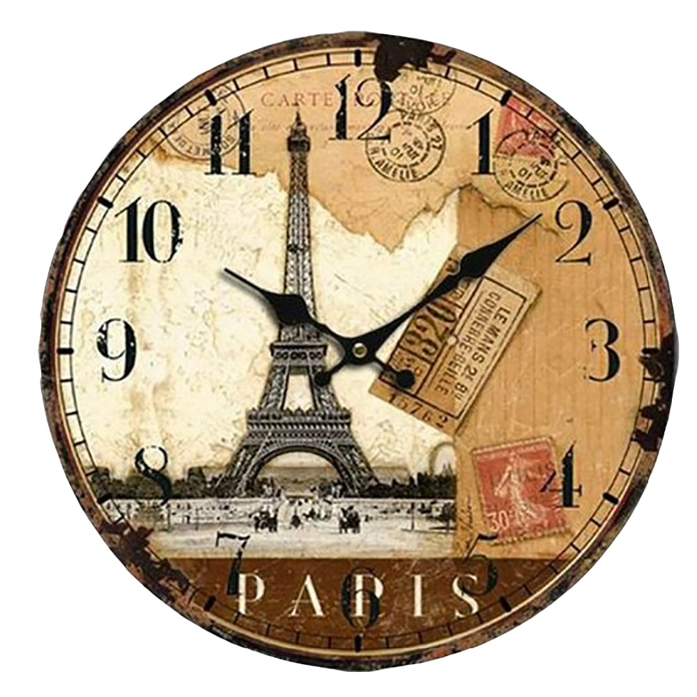 Vintage France Paris Colourful Wall Clock Tuscan Style Paris Wooden Clock  Home Kitchen Decoration Wall Clock
