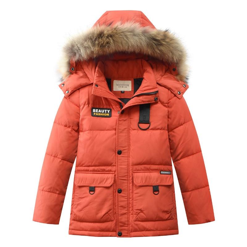 Boys Thick Down Jacket 2019 New Winter New Children Raccoon Fur Warm Coat Clothing Boys Hooded