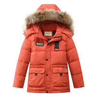 Boys Thick Down Jacket 2019 New Winter New Children Raccoon Fur Warm Coat Clothing Boys Hooded Down Outerwear 20 30Degree