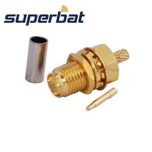 Image 3 - Superbat 10pcs RP SMA Crimp Female Jack(male pin) Bulkhead Medium RF Coaxial Connector for Cable RG174 RG 188A LMR100 RG316