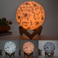 USB LED night light moon lamp 3D colorful blue and white porcelain table lamp Touch 3 Colors Change Touch Switch for baby kids