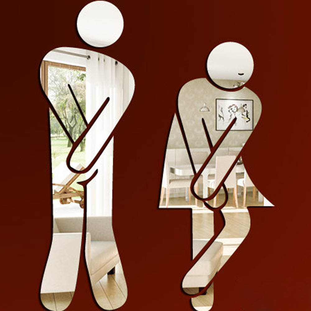 Funlife Bathroom Sign Wall Sticker Male Female Toilet Direction Home - Male bathroom sign