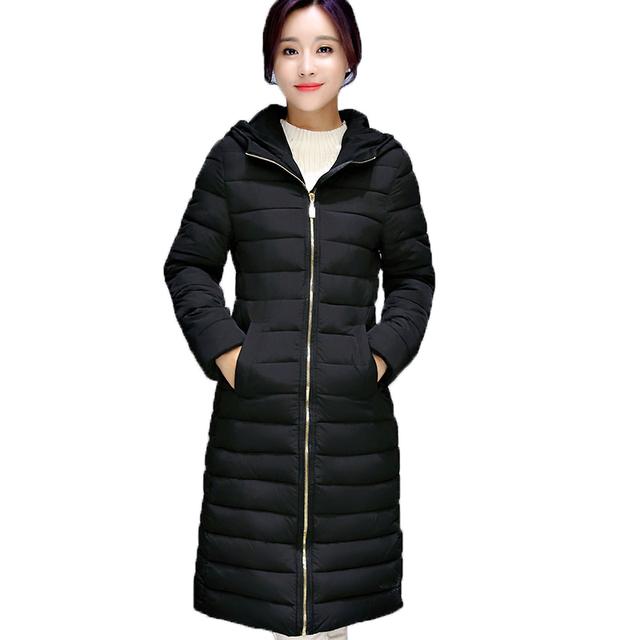 Inverno das mulheres Para Baixo casaco de algodão Longa seção de espessura quente jaqueta de algodão selvagem cor Sólida Bolsos Com Zíper Jaqueta Casual Parka solto