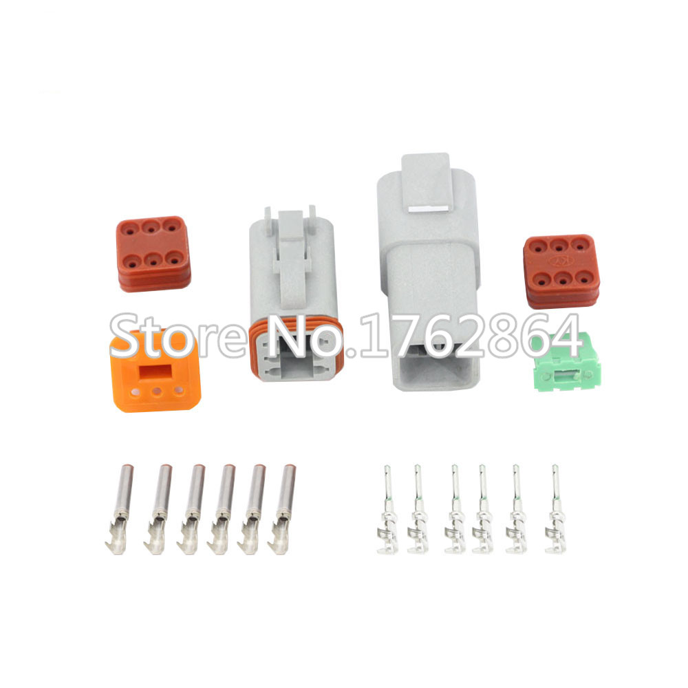 50 Sets DJ3061Y-1.6-11/21 Deutsch Connectors 6 Pin DT04-6P/DT06-6S Automobile waterproof wire electrical connector plug 22-16AWG black 50 sets 4 pin dj3041y 1 6 11 21 deutsch connectors dt04 4p dt06 4s automobile waterproof wire electrical connector plug