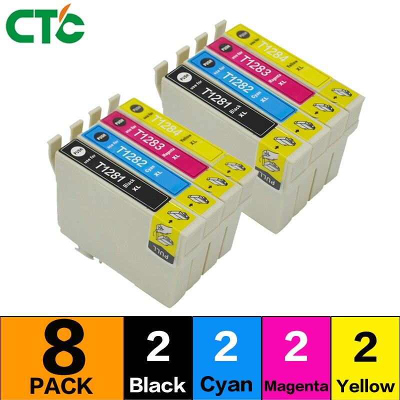 8pack Compatible for T1285 multi Ink Cartridges for Stylus SX125 SX130 SX230 SX235W SX420W SX425W Printer