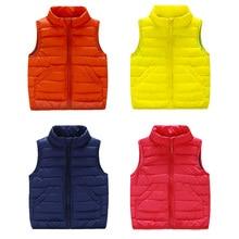 Baby down jacket vest  new winter 2016 boys girls pure color vest children's wear children's candy color coat  pocket wt – 5200