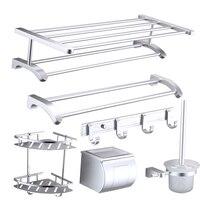 Новый дизайн современный Космос алюминиевый Аксессуары для ванной комнаты продукты пескоструйная обработка серебра монтаж ванная комната