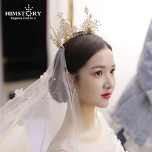 Himstory  Gorgeous Handmade Tiara Wedding Bridal Crowns Gold Hollow-out Leaf Brides Headband Pageant Party Hair Accesories