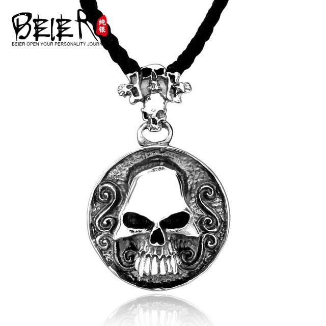 BEIER 925 Sterling Silver Biker Skull Necklace Pendant Solid Silver Man's Fashion Skull Pendant Necklace A0098