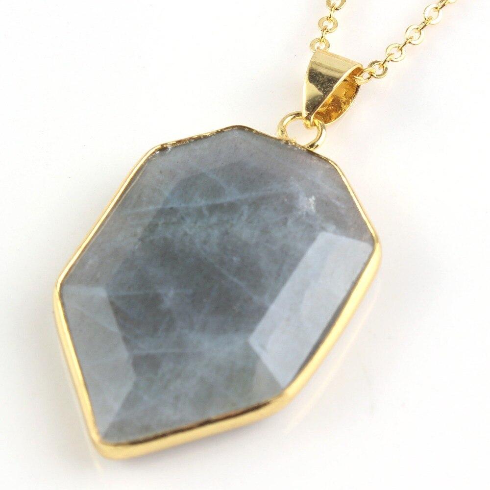 75a755aaeeee Moda de perlas popular luz oro amarillo color labradorita forma poligonal  sección colgante collar joyería de moda