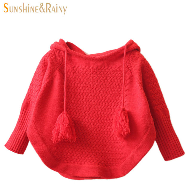 New Litter Girls Autumn Sweater Fashion Kids Girls Pullover Hooded Hairball Children Loose Bat Sweater For Girls Cotton Clothes