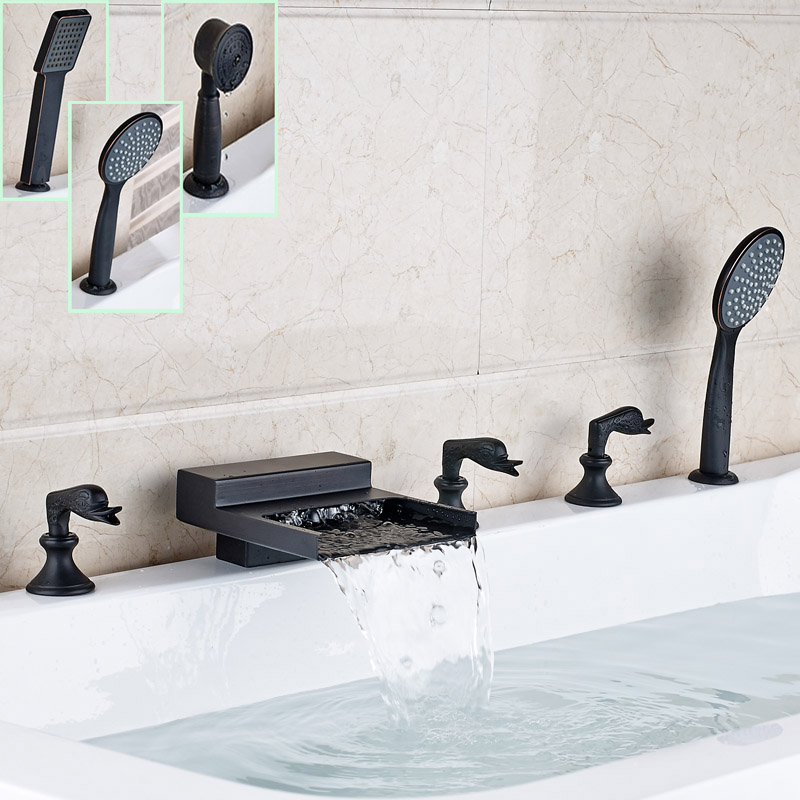 Deck Mounted Bathroom Tub Sink Faucet Widespread Waterfall Roman Bathtub  Mixer Tap With Handshower(China