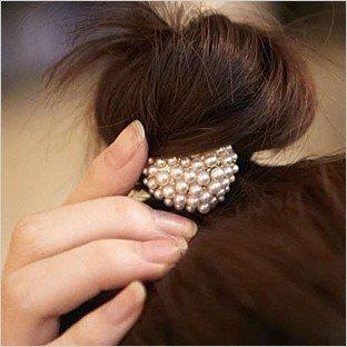 Wholesale Fashion Imitation-Pearl Love Hair rope T6005