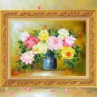 Rose Muster von Bandstickerei DIY 3d Spitze Hand Kits Handarbeit Handwerk Vase Ölgemälde Serie Hause Dekorative Malerei
