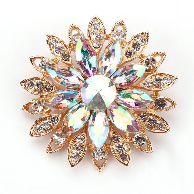 High Quality Beautiful AB Crystal Daisy Flower Design Fashion Pins and Brooches