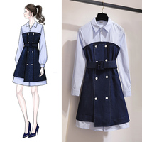 Women's clothing spring new cowgirl French retro dress female spring and autumn Korean version of the popular dress