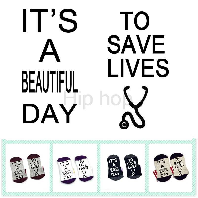 Socks It's A Beautiful Day To Save Lives Socks cotton comfortable unisex Socks stethoscope shaped gift socks nurse doctor socks