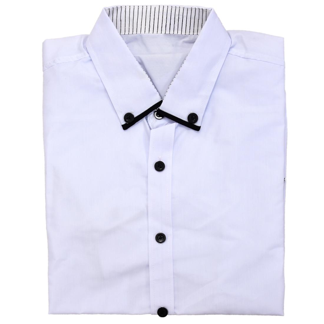 Белый Лето Мужская Мода Рубашки Платья Плед Хитов Цвет Окантовка Выстроились в Полоску Slim Fit С Короткими рукавами Рубашки