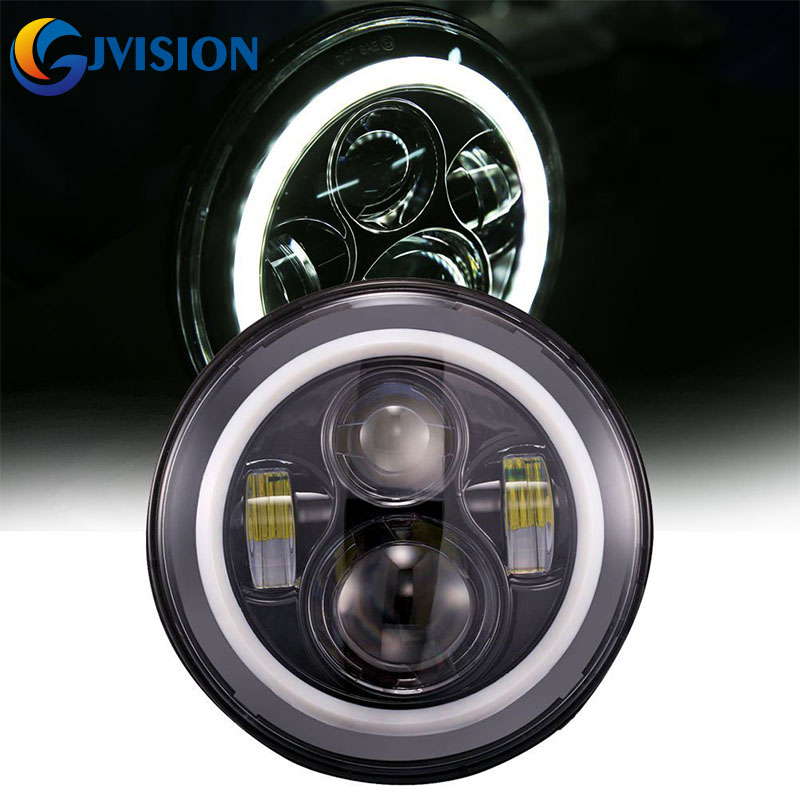 2pcs/Pair 7inch Round led headlamp Hi/Lo H4 LED Headlight halo ring Angel eye for 97-15 Jeep Wrangler JK Hummer Defender 2pcs new design 7inch 78w hi lo beam headlamp 7 led headlight for wrangler round 78w led headlights with drl