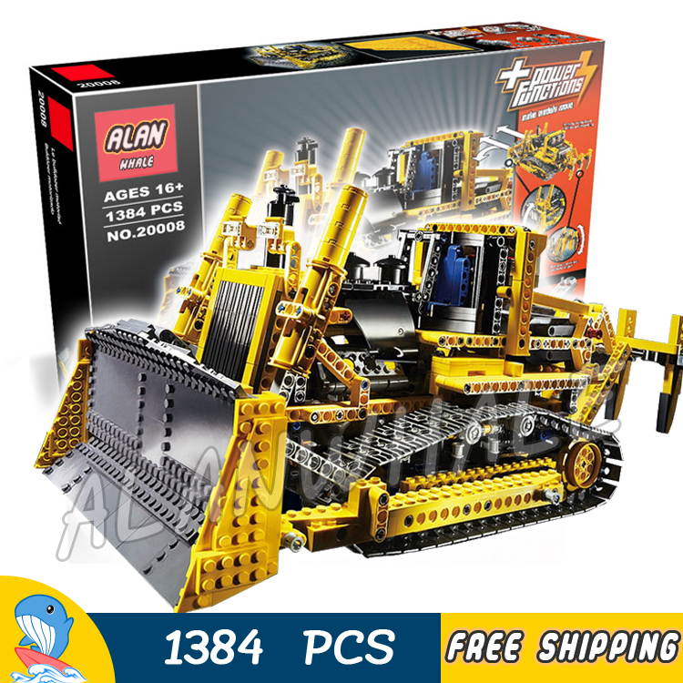 1384pcs Techinic Remote Controlled Motorized Bulldozer Machineshop 20008 Model Building Blocks Toys Bricks Compatible With lego 11types techinic power functions motorized moc m l xl servo motor battery box model building blocks toy set compatible with lego