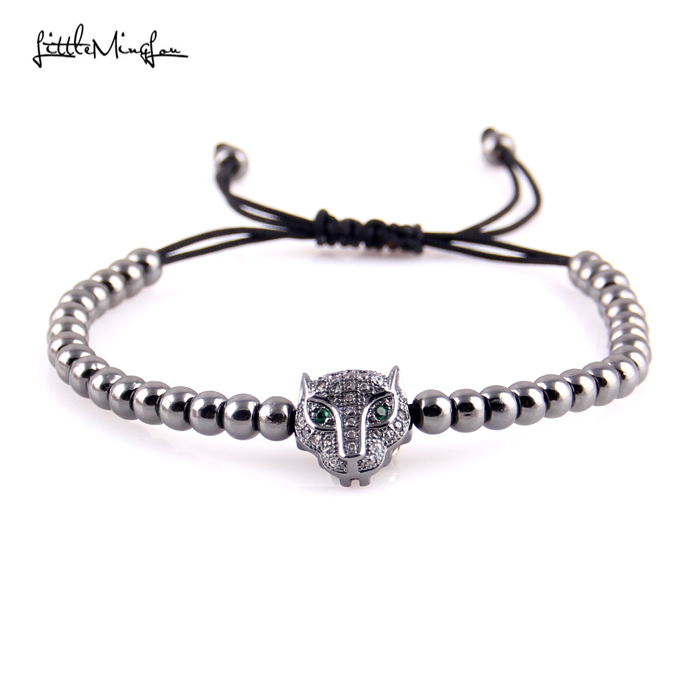 WML Trendy Men bead Bracelet Micro Pave CZ Leopard head Charm copper Braided bracelets bangles for women Jewelry in Charm Bracelets from Jewelry Accessories