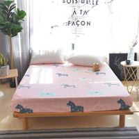 Hot sell 3pcs Pink Grid Twin full queen Size Bed Sheet Horse Printed Fitted Sheet With Elastic Mattress Protector sheet bedding