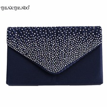 Фотография 1Pc Women Sparkling Rhinestone Satin Frosted Evening Bag Handbag Clutch Purse